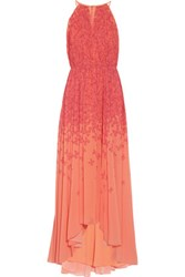Badgley Mischka Asymmetric Printed Chiffon Gown Coral