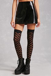 Forever 21 Checkered Thigh High Tights Black