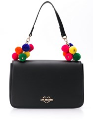 Love Moschino Pompom Embellished Shoulder Bag Black