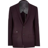 River Island Burgundy Skinny Suit Jacket Red