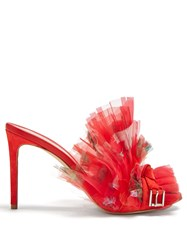 Alexander Mcqueen Floral Print Pleated Organza Mules Red Multi