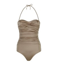 Elizabeth Hurley Beach Olympia Bandeau Swimsuit Female Gold