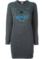 Kenzo 'Tiger' Cable Knit Dress Grey