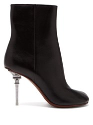 Vetements Eiffel Tower Heel Leather Ankle Boots Black