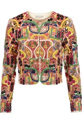 Alice Olivia Kidman Cropped Embroidered Cotton Blend Jacket Multi