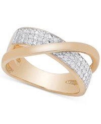 Victoria Townsend Diamond Crossover Ring In Sterling Silver Or 18K Gold Over Sterling Silver 1 4 Ct. T.W. Rose Gold