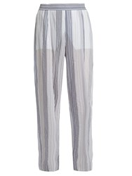 Stella Mccartney High Rise Wide Leg Striped Trousers White Multi