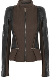 Haider Ackermann Paneled Wool Blend Leather And Python Jacket Brown