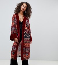 Kiss The Sky Longline Kimono With Velvet Trim In Paisley Celestial Print Red Celestial
