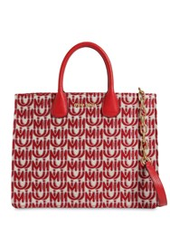 Miu Miu All Over Logo Jacquard Tote Bag Red