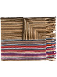 Missoni Chevron Knit Scarf Brown