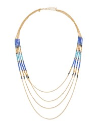Emily And Ashley Greenbeads By Emily And Ashley Long Multi Strand Beaded Chain Necklace Blue