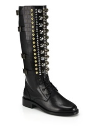 Rene Caovilla Embellished Knee High Leather Boots Black