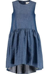 Pleated Cotton Blend Chambray Dress Bright Blue