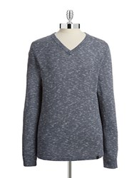 Dkny V Neck Woven Sweater River Blue