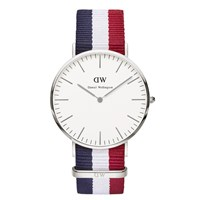 Daniel Wellington Classic Nato Cambridge Silver Watch Red White Blue