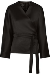 The Row Haki Satin Twill Wrap Top Black