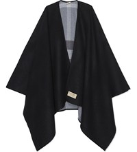 Burberry Check Reversible Wool Cape Charcoal