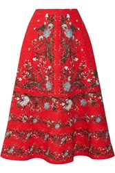 Erdem Tiana Floral Print Cloque Midi Skirt Red