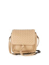Bottega Veneta Intrecciato Leather Cross Body Bag Light Beige