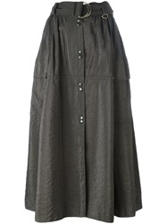 Nina Ricci Snap Button Front Midi Skirt Green