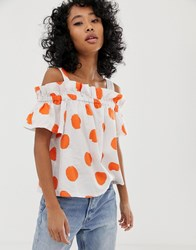 Pepe Jeans Jourdan Polka Dot Cold Shoulder Blouse White