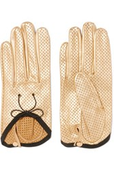 Causse Gantier Girly Perforated Metallic Leather Gloves Gold