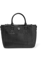 Tory Burch Robinson Small Woven Matte And Patent Leather Tote Black