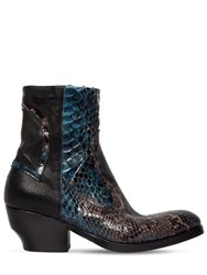 Rocco P. 50Mm Leather And Python Skin Ankle Boots Black
