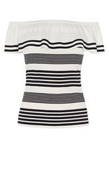 Karen Millen Boho Off The Shoulder Frill To Black And White