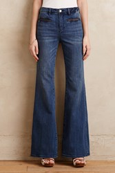 Pilcro Leather Trimmed Flared Jeans Tinted Denim