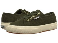 Superga 2750 Polywoolw Green Olive Women's Lace Up Casual Shoes