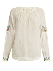 The Great Sonnet Floral Embroidered Cotton Top White Multi