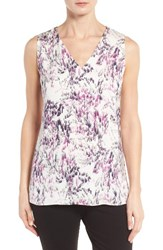 Classiques Entierr Women's Entier Stretch Silk V Neck Shell Ivory Cloud Sumi Floral