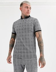 Good For Nothing Muscle Fit Half Zip Polo In Grey Prince Of Wales Check