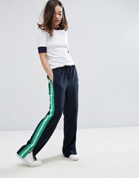 Monki Side Stripe Wide Leg Trousers Navy Green