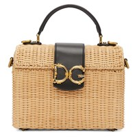Dolce And Gabbana Beige Black Raffia Top Handle Bag