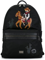 Dolce And Gabbana 'Vulcano' Cowboy Patch Backpack Black