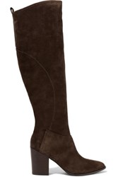 Sigerson Morrison Gazella Suede Knee Boots Dark Brown