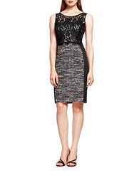 Kay Unger Lace And Tweed Sheath Dress Black