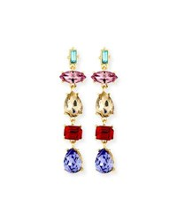 Sequin Mixed Shape Crystal Drop Earrings Gold