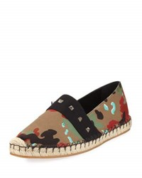 Valentino Camouflage Jute Trimmed Loafers Multi