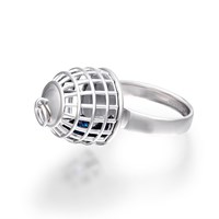 Openjart Cage Ring With Blue Stone Silver