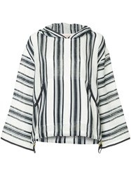 Tory Burch Awning Striped Hoodie White