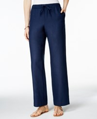 Charter Club Petite Linen Drawstring Pants Only At Macy's Intrepid Blue
