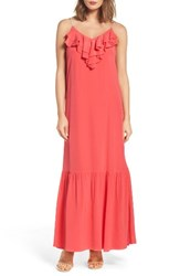 Eci Women's Ruffle Silk Maxi Dress