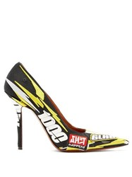 Vetements Racer Embroidered Point Toe Pumps Yellow Multi