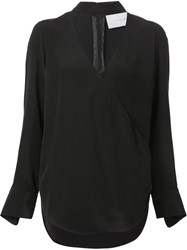 Strateas Carlucci Cross Front Blouse Black