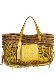Loewe Anagram Woven Leather Tote Bag Yellow Multi