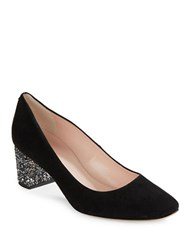 Kate Spade Dolores Square Toe Suede Heels Black